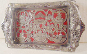 Japan, vintage, antique, filigree, tray,