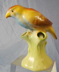 spill vase, triple bud, songbird, bird,                           czech, parrot,