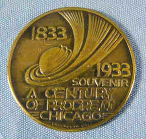 worlds fair, coin, 1833-1933, token                           souvenir