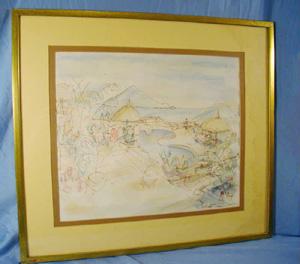 Gartner, abstract, painting, pastel,                           drawing, hawaii, signed