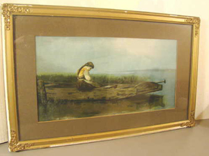 Antique Lithograph Print Lone Girl in                           Boat