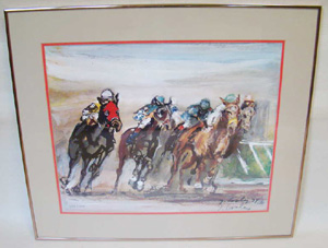 Jack Cooley Church Hill Downs limited                           edition print, expressionist
