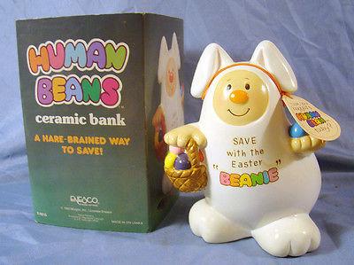 human bean, collectible, beanie, bank,                             ceramic,