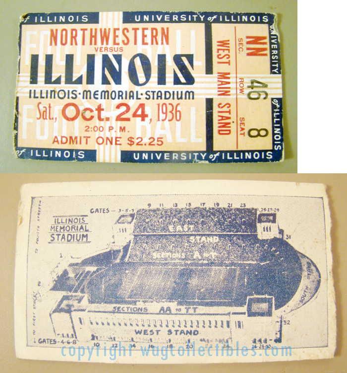 1936 Illinois vs Northwestern Football                           Ticket Stub