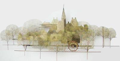 curtis jere, modernist, sculpture, town,                           trees,