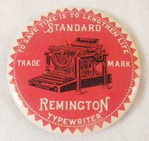 Antique Celluloid Remington Typewriter                           advertising mirror