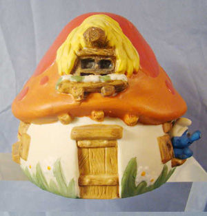 vintage original smurf mushroom cottage
