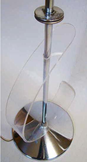 Mid century modernist sculptural chrome                           acrylic floor lamp