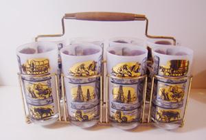 retro, mid century, western, cowboy,                           glasses, bar, caddy,