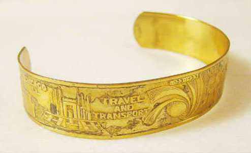 Worlds Fair Gold Cuff Bracelet